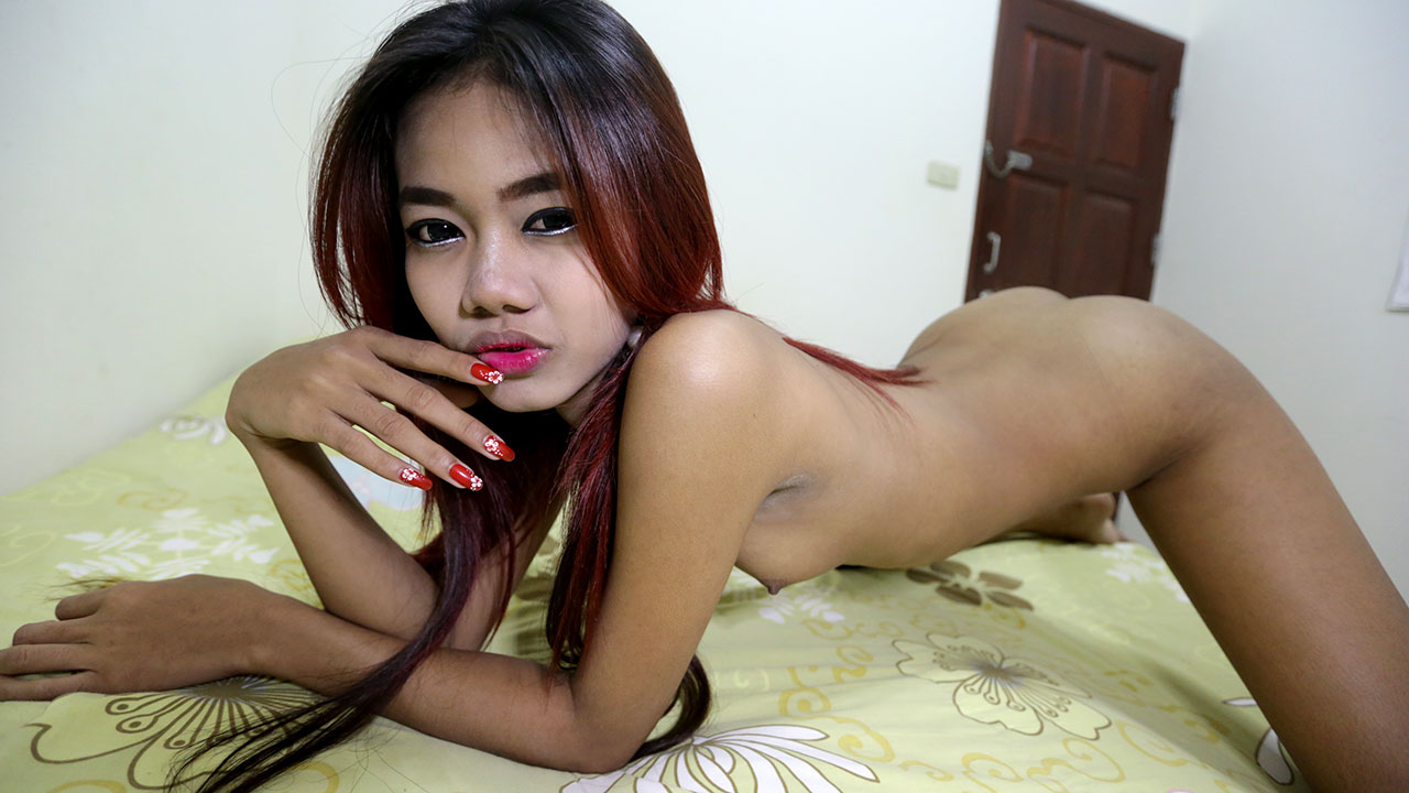 Teen Nude On Bed Showing Off Tight Body And Tiny Asian Ass