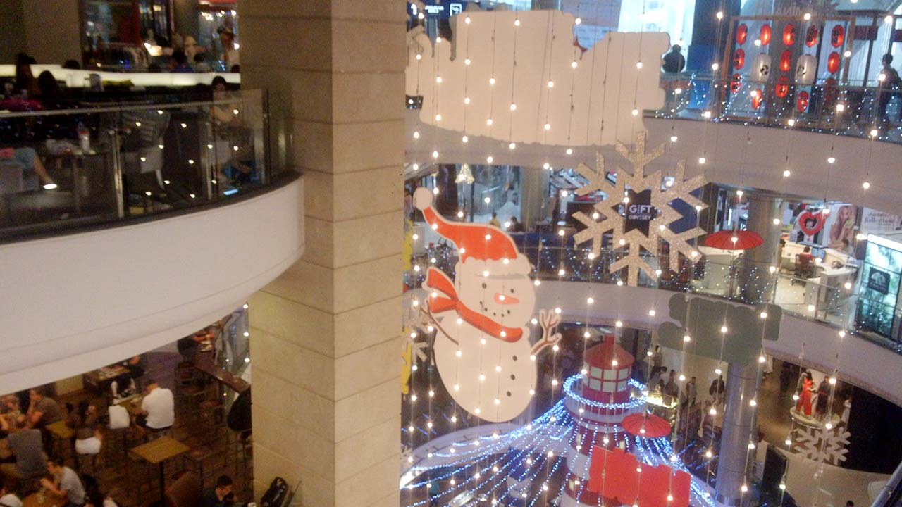 View inside Bangkok shopping mall when doing after-Christmas shopping